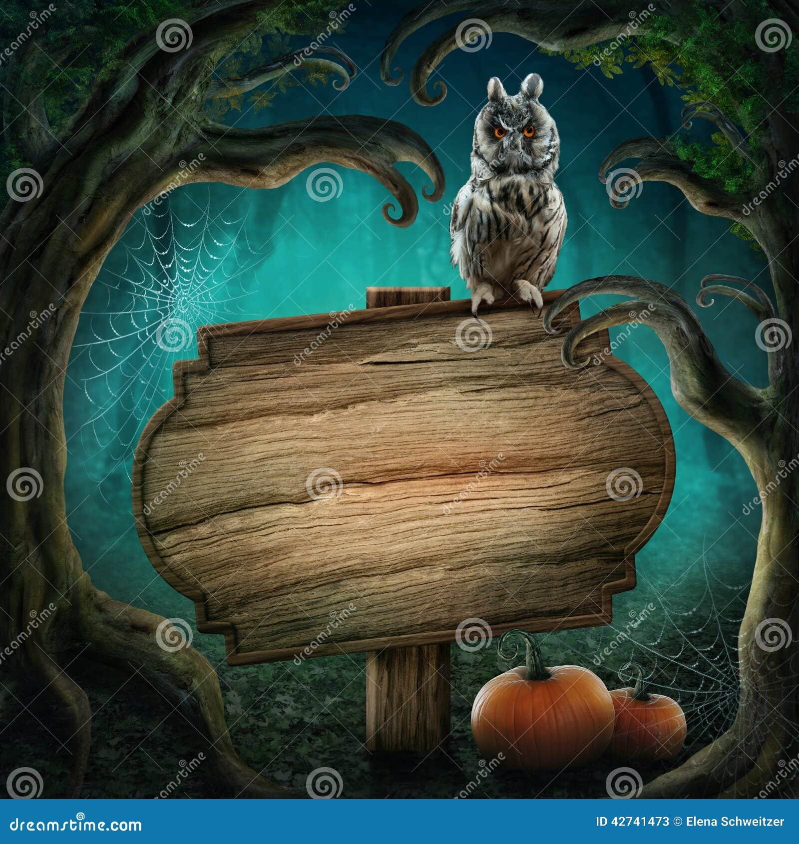 Drewniany podpisuje wewnątrz Halloween las