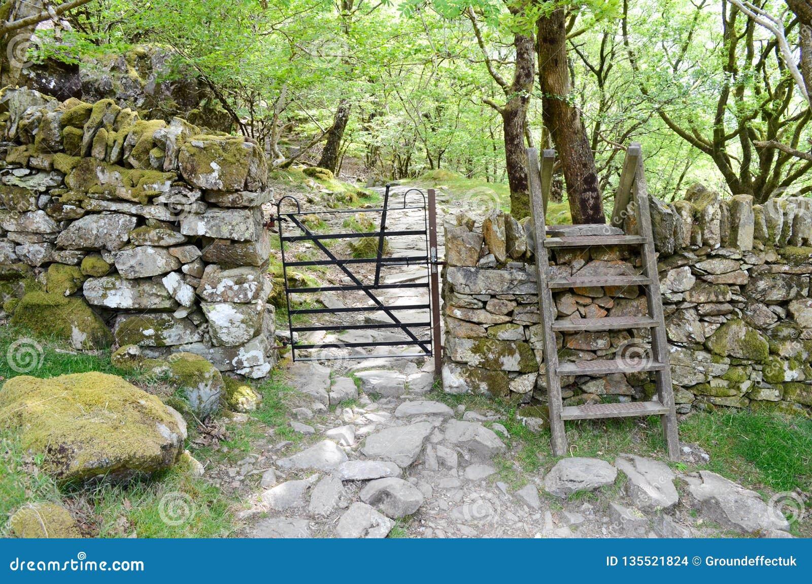 Drewniany przełaz przez kamiennej ściany i, prowadzenie w las