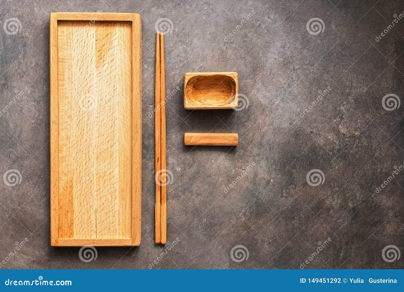 Drewniany set naczynia, cutlery kuchni Azjatycki suszi, rolki, prostokątny talerz, chopsticks i puchar dla soja kumberlandu na a,