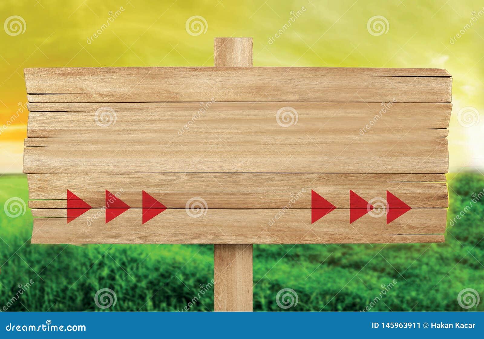 Drewniany signboard, rolny signboard pusta przestrze? dla pisa?