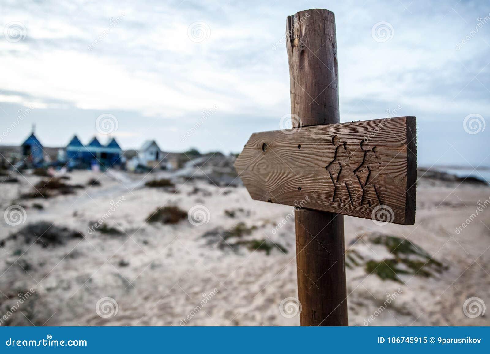 Drewniany turystyczny pointer, podróżnicy z plecakami na talerzu