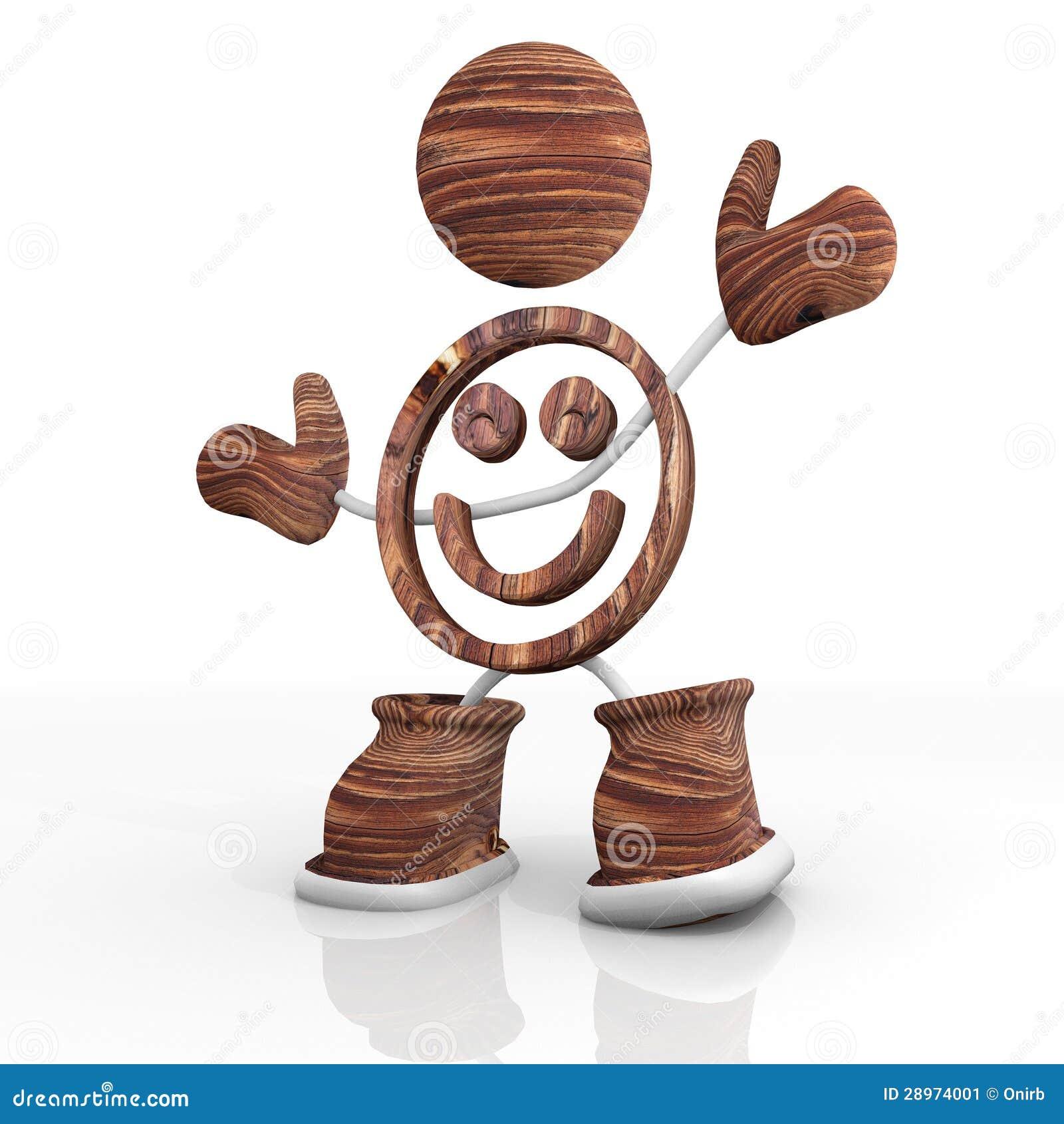 Drewniany uśmiechu 3d charakter
