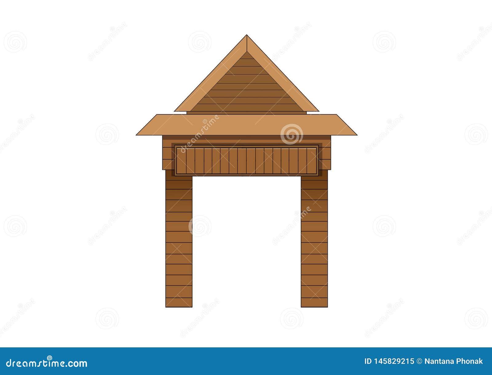 Drewniany wej?ciowego drzwi projekt na bia?ym tle
