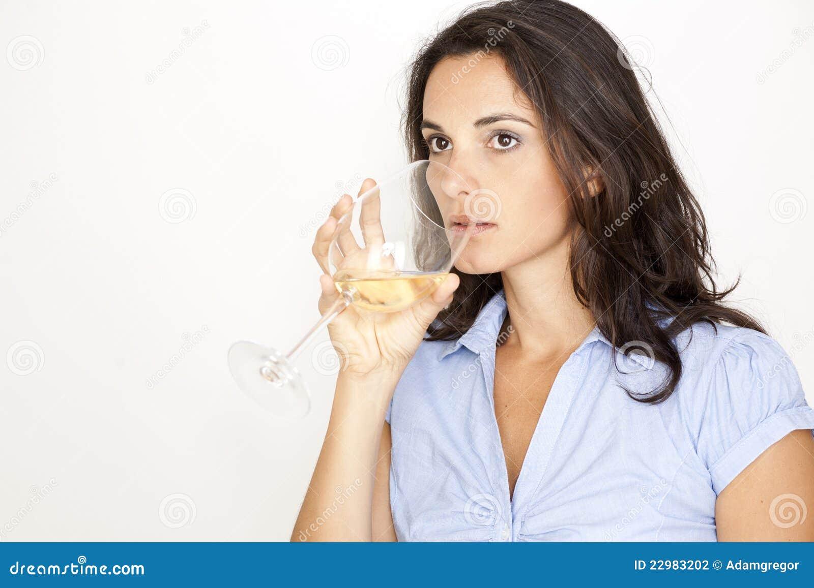 Dricka glass kvinna för vit wine
