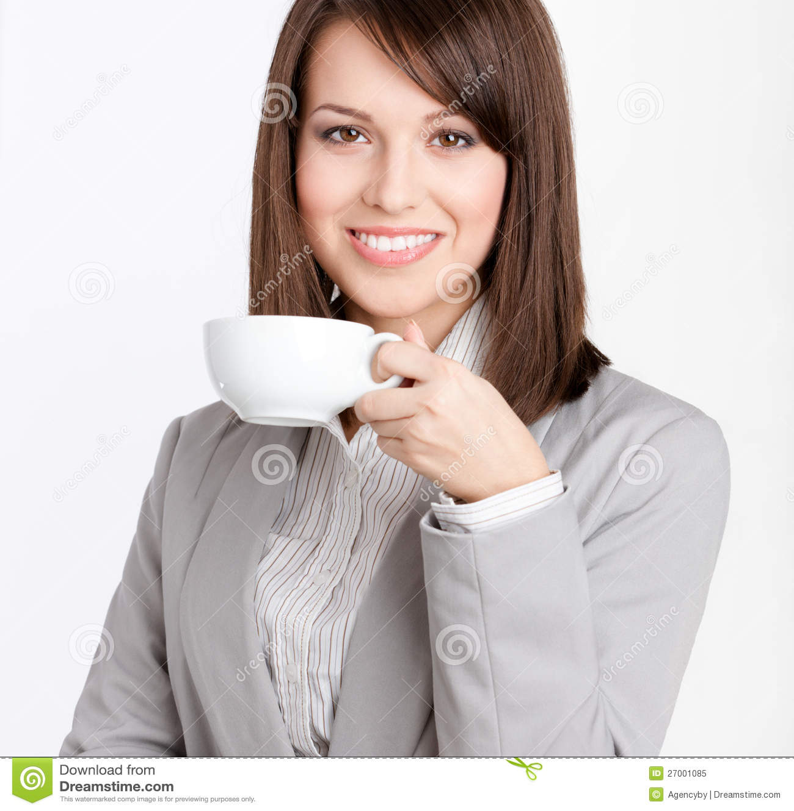 Dricka kaffe för affärskvinna
