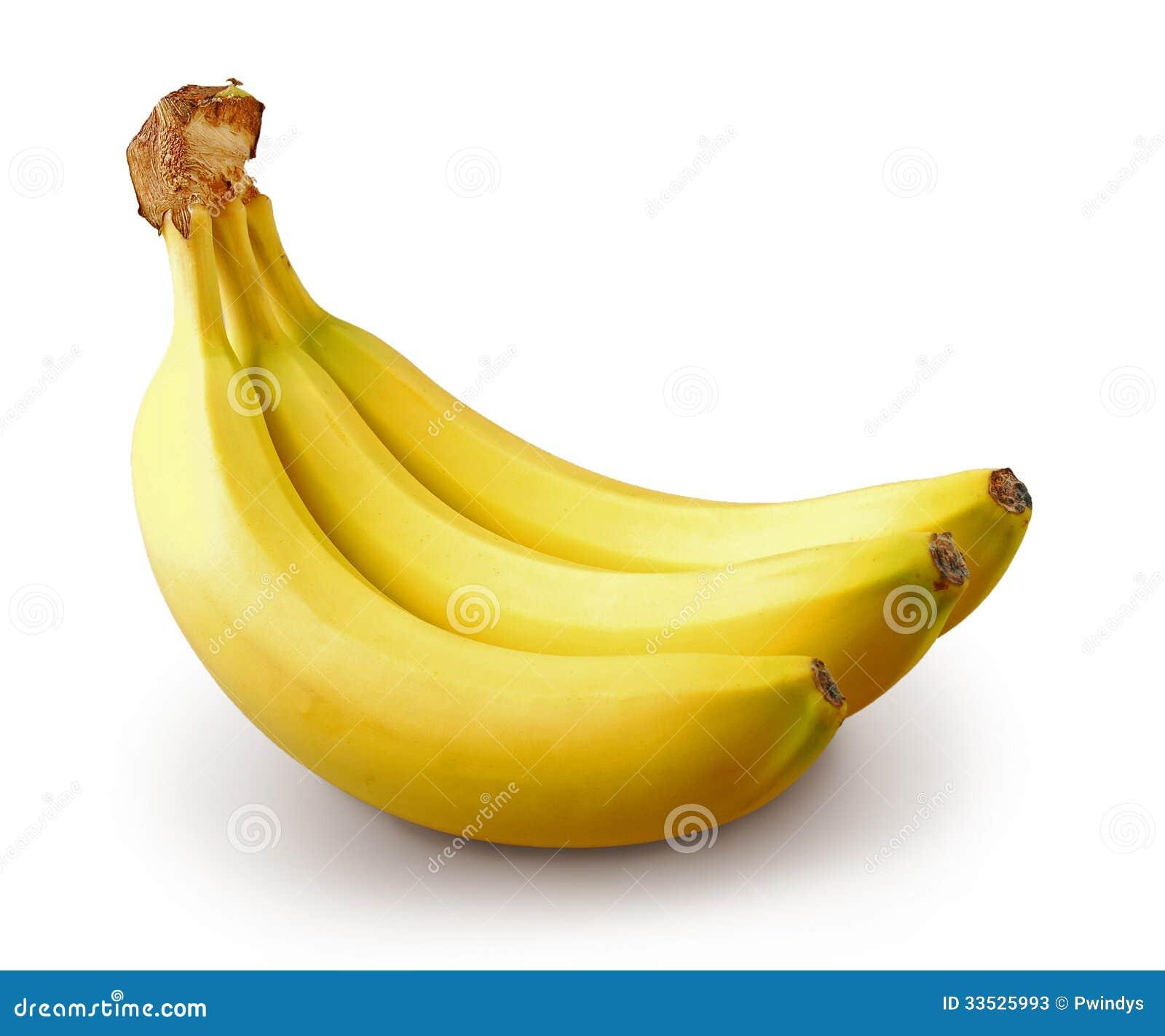 drie bananen op witte achtergrond stock afbeelding afbeelding bestaande uit vitaminen vers. Black Bedroom Furniture Sets. Home Design Ideas
