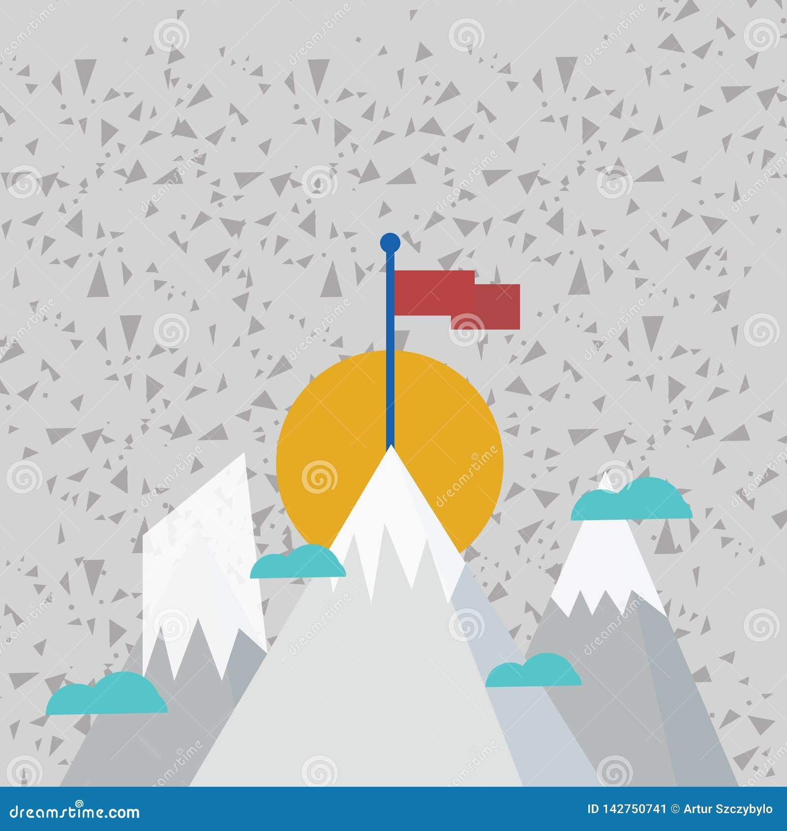 Drie Bergen met Sneeuw gaat voorbij de Kleine Wolken uit Men heeft Lege Kleurrijke Vlag die zich bij de Piek bevinden creatief