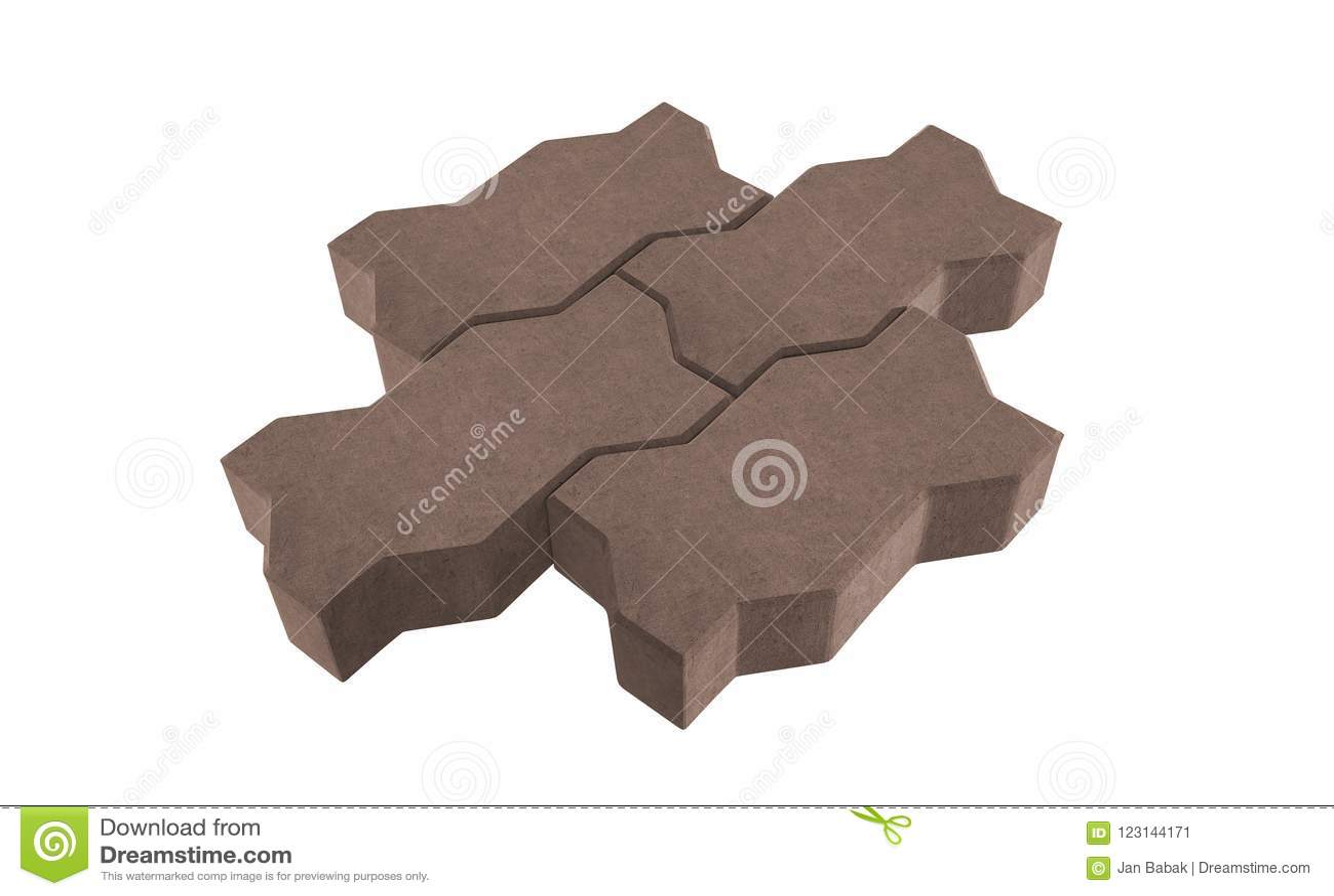 Drie bruine slot het bedekken bakstenen Geïsoleerdj op witte achtergrond