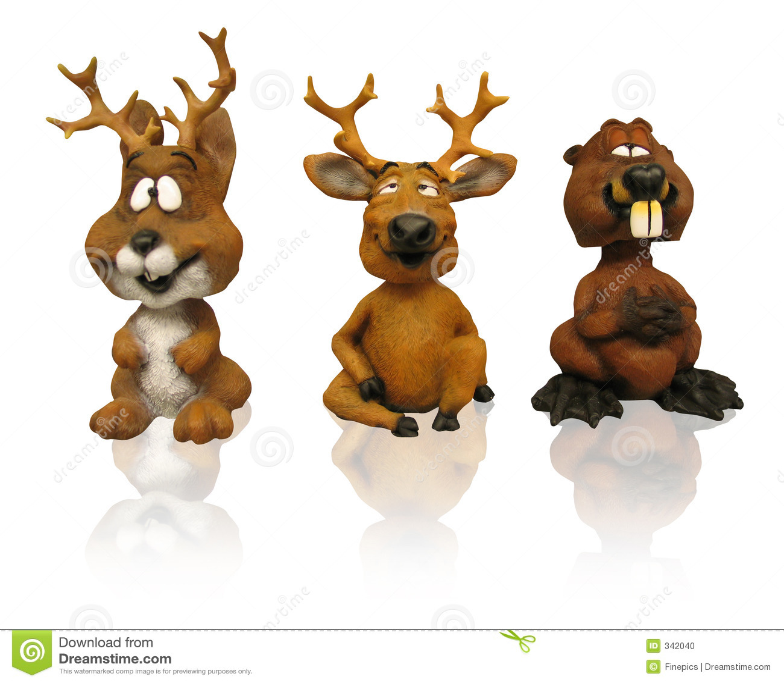 Drie dierlijke beeldjes (klemweg)