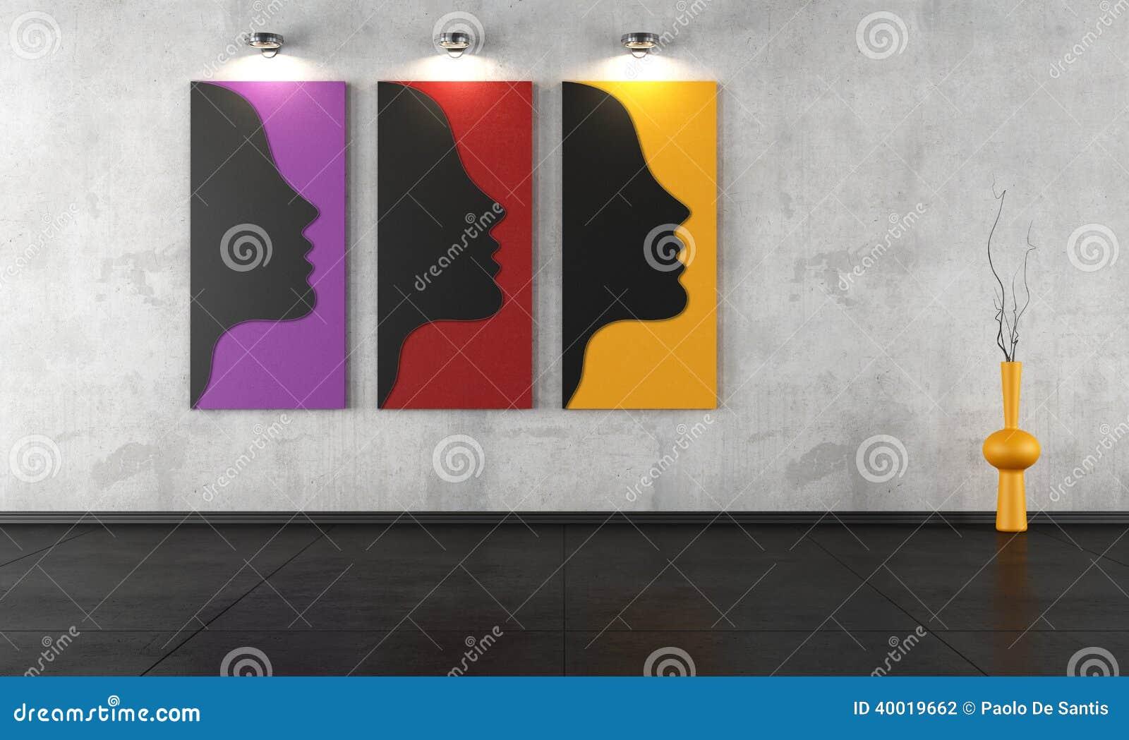 Drie eigentijdse schilderijen in een lege ruimte stock illustratie afbeelding 40019662 - Eigentijdse muur ...