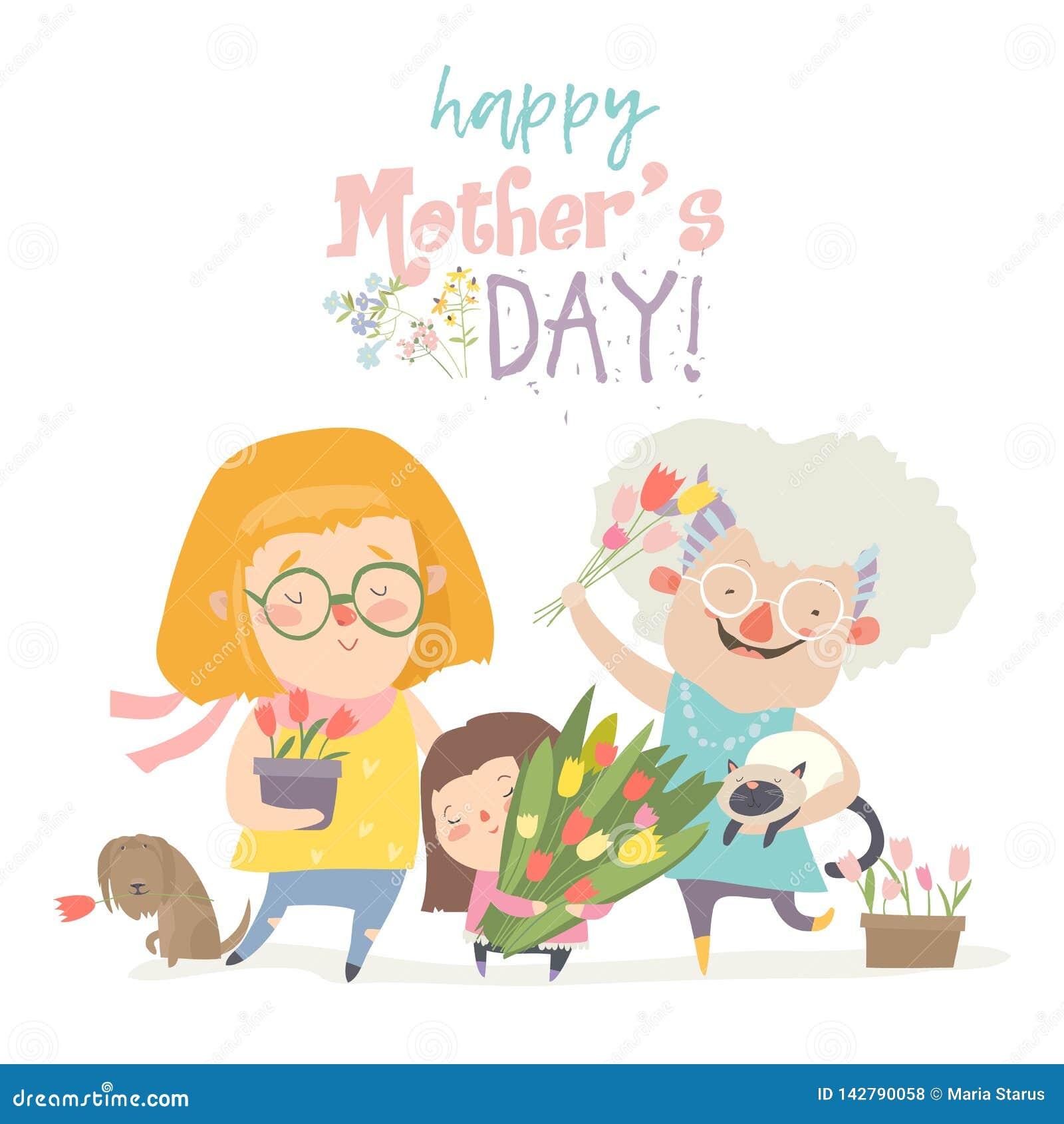 Drie generaties van vrouwen van verschillende leeftijden van kind aan jonge volwassen moeder en hogere grootmoeder