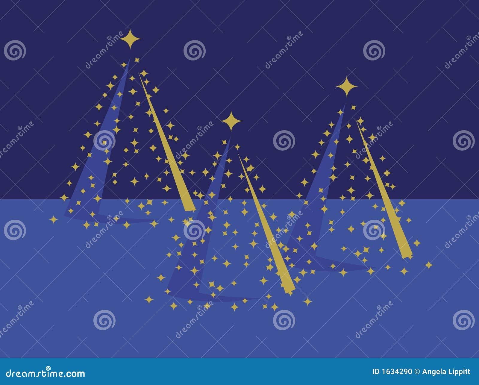Drie Gouden Kerstbomen op Blauw