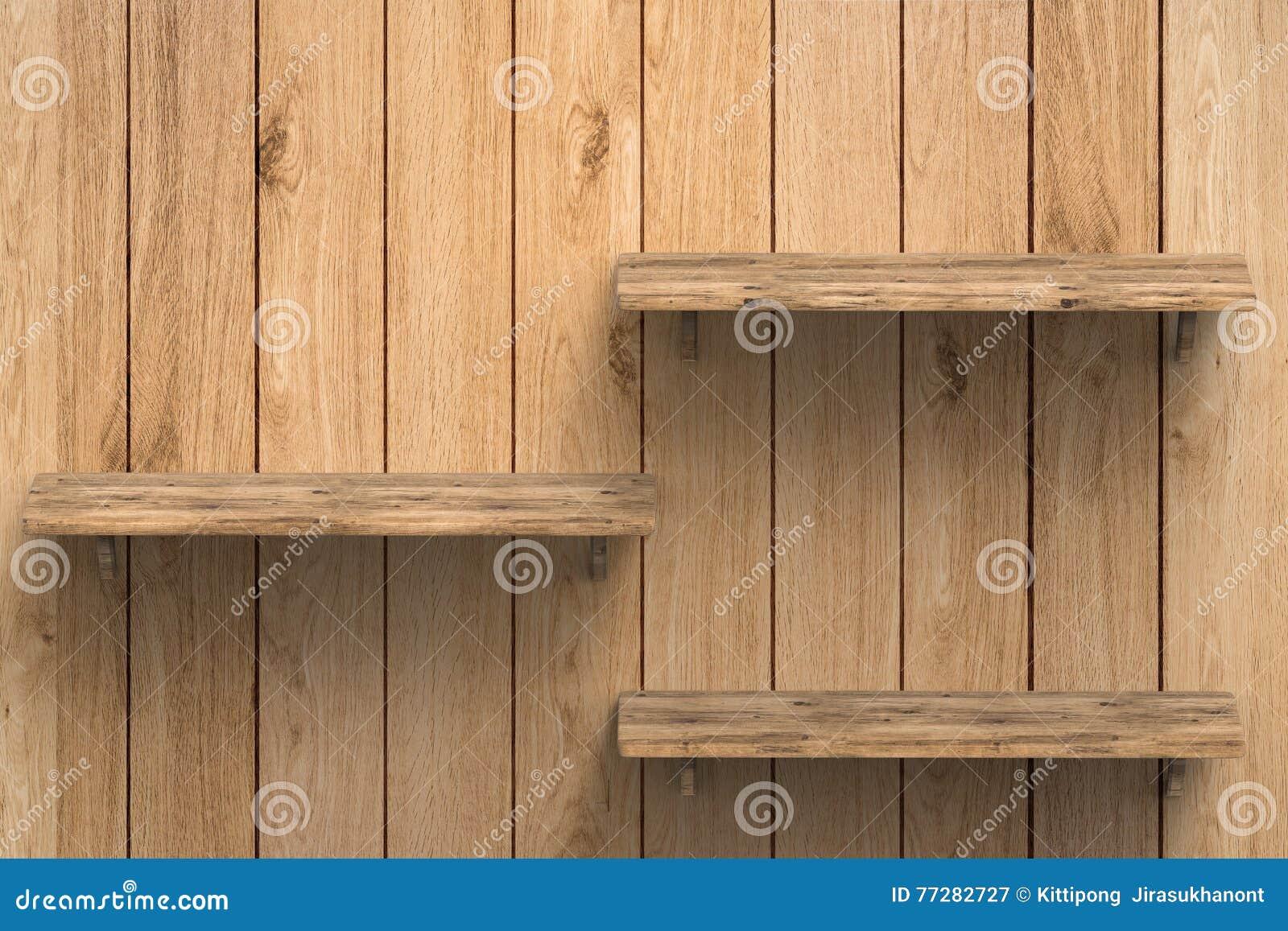 Houten Planken Voor Muur.Drie Houten Planken Op Muur Stock Illustratie Illustratie