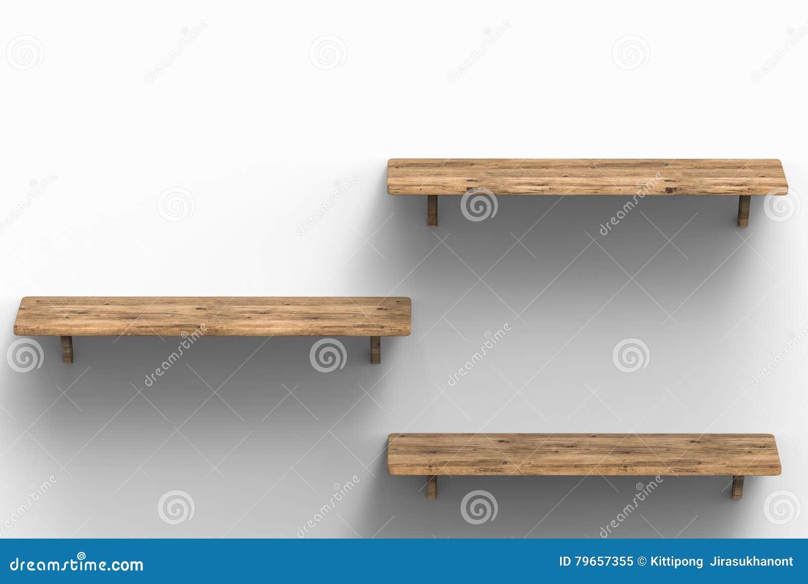 Houten Planken Aan De Muur.Drie Houten Planken Op Muur Stock Illustratie Illustratie