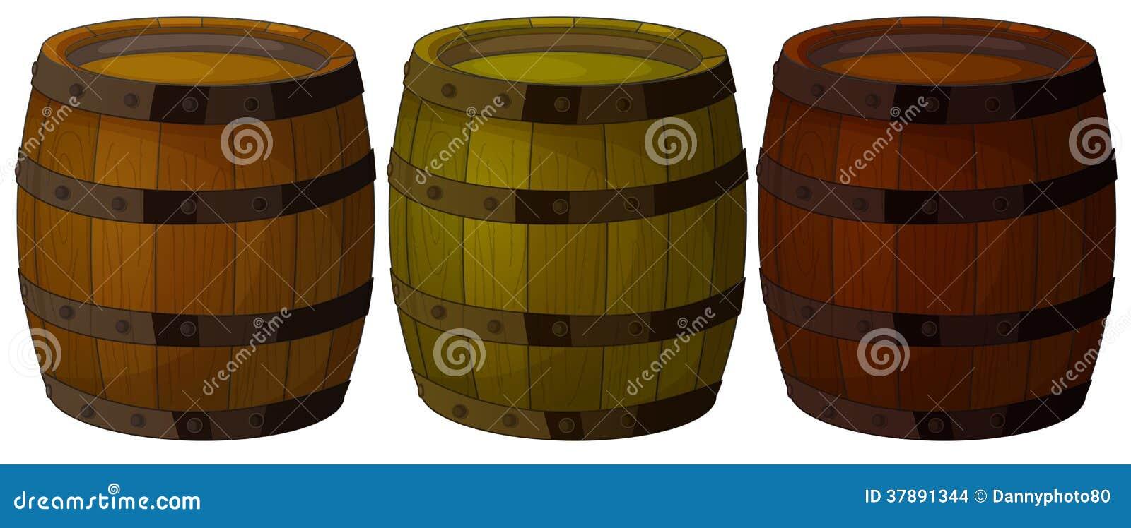 Drie houten vaten