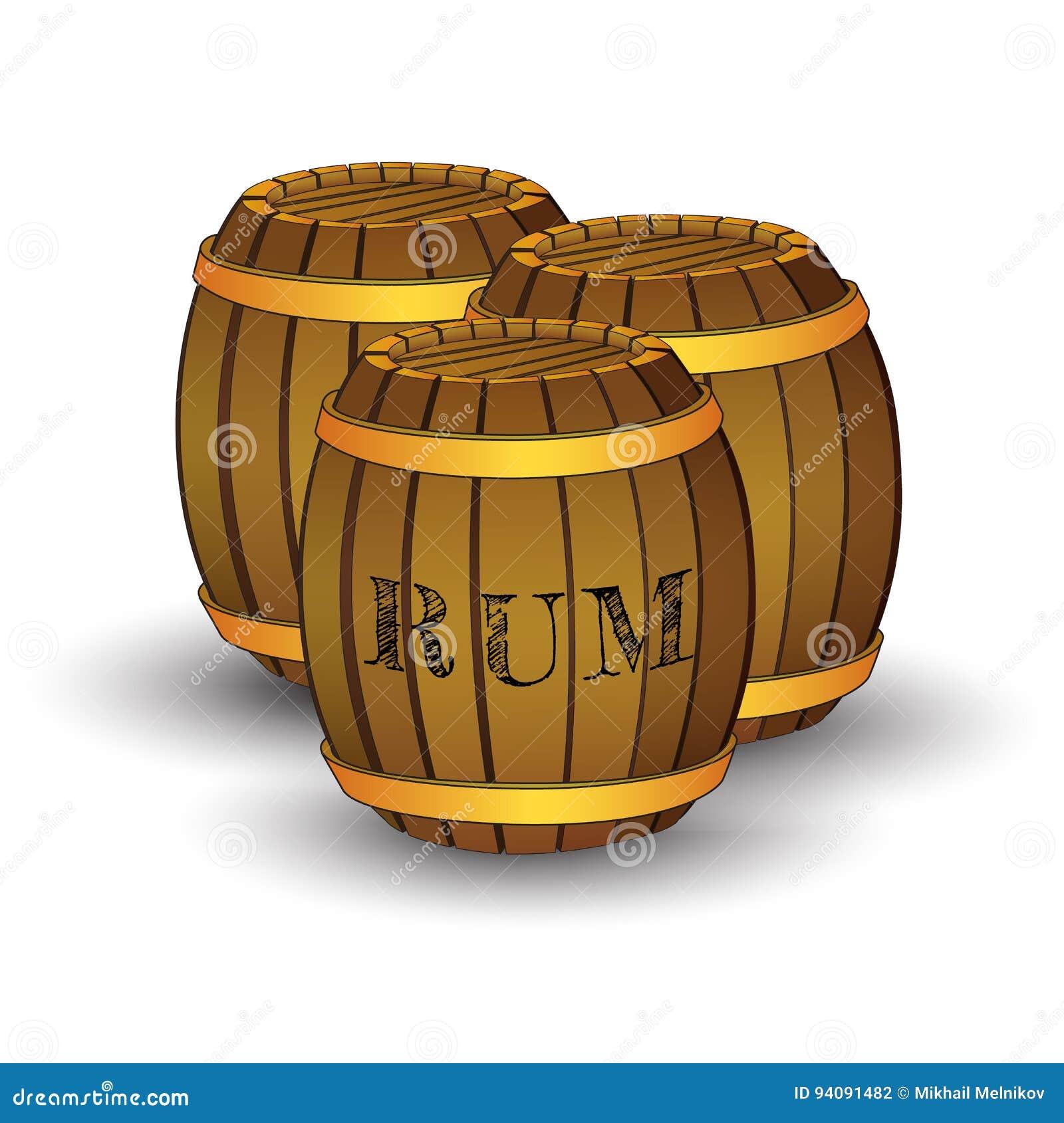 Drie houten vaten met etiket` RUM `
