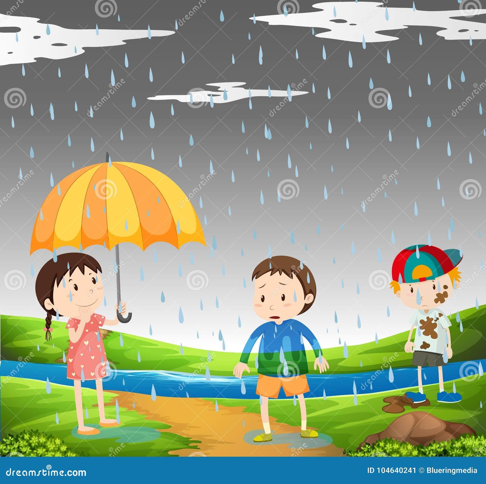 Download Drie Jonge Geitjes In De Regen Vector Illustratie - Illustratie bestaande uit park, seizoen: 104640241