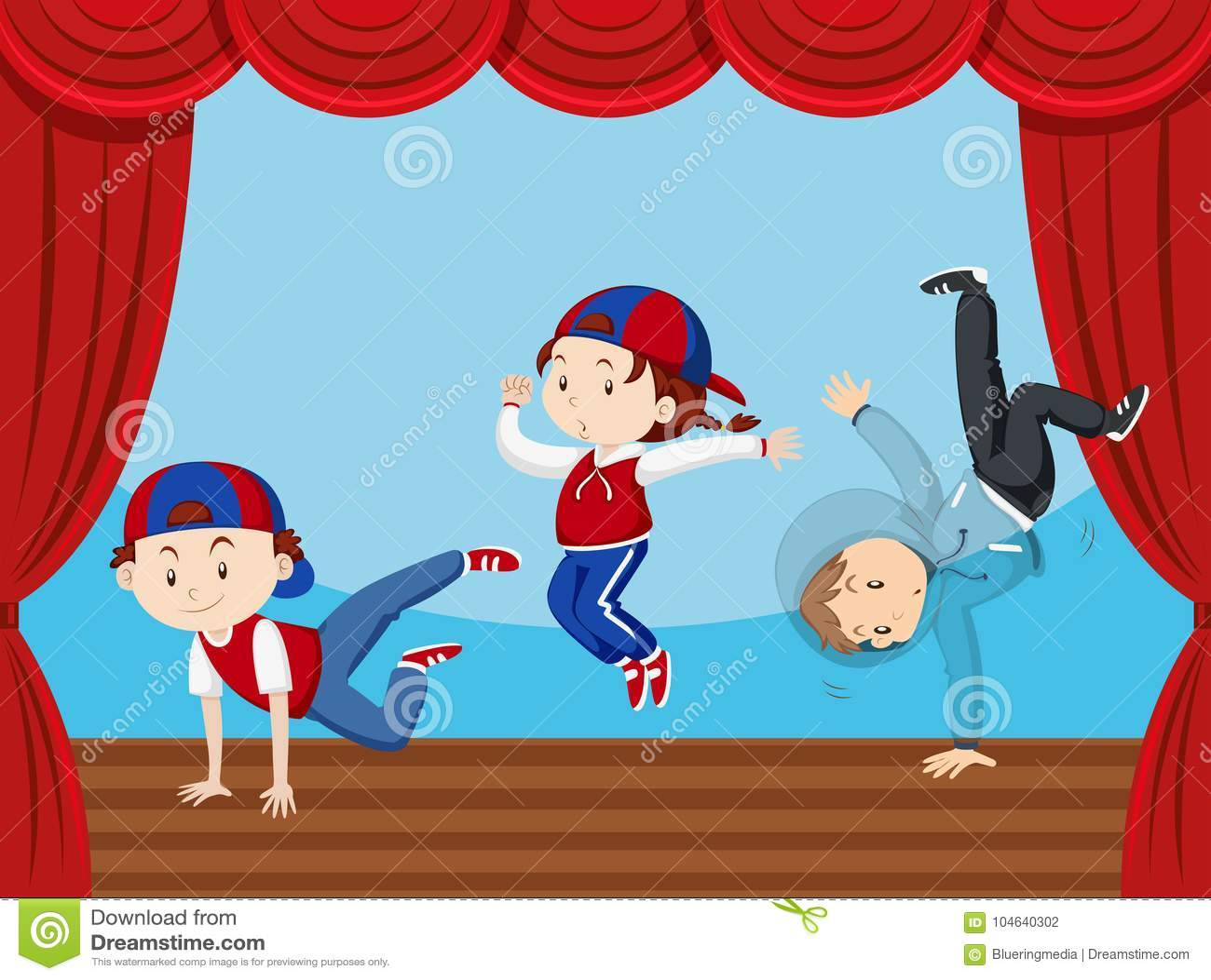 Download Drie Jonge Geitjes Die Op Stadium Dansen Vector Illustratie - Illustratie bestaande uit gordijn, stadium: 104640302