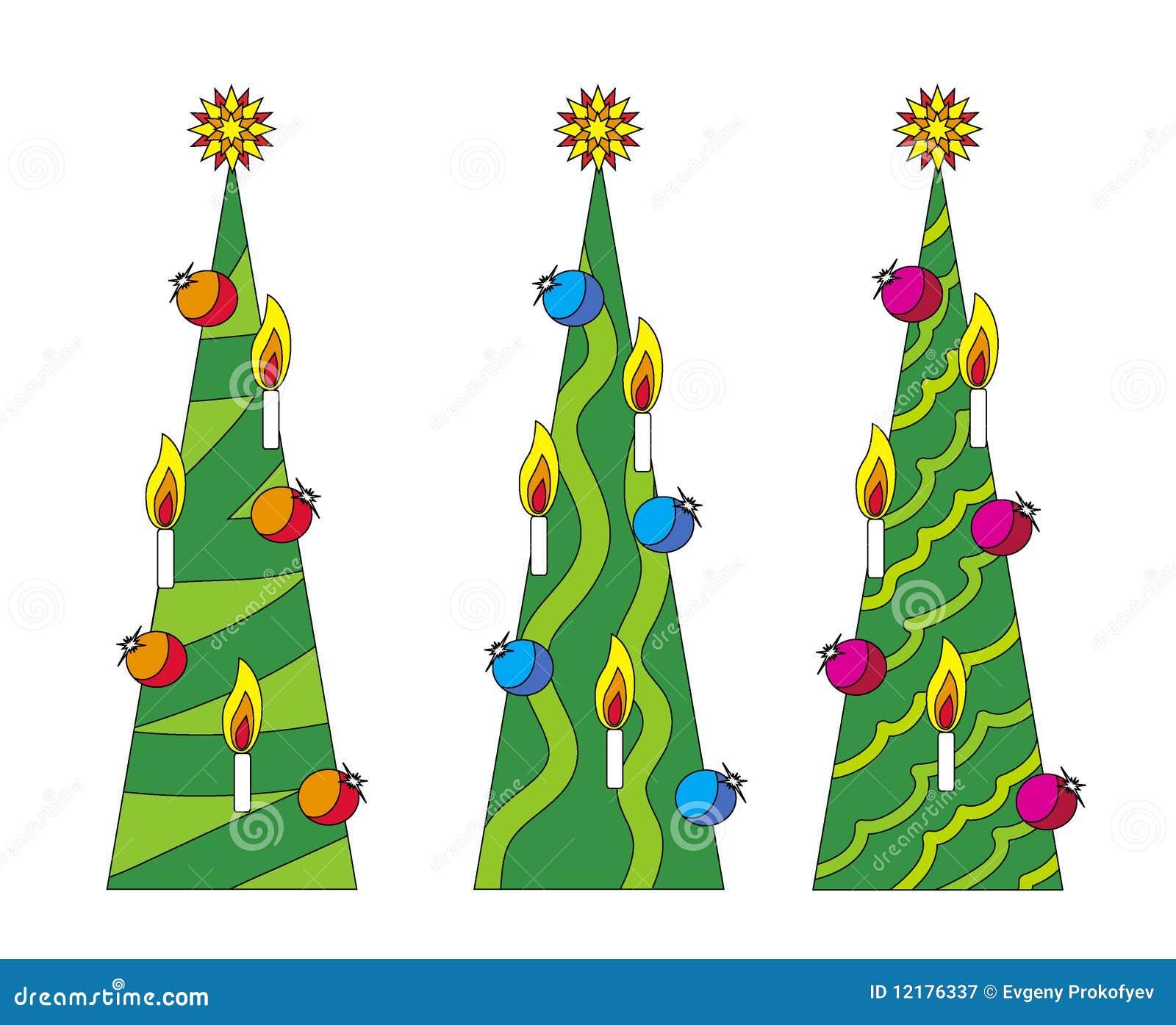 Drie Kerstmis-bomen