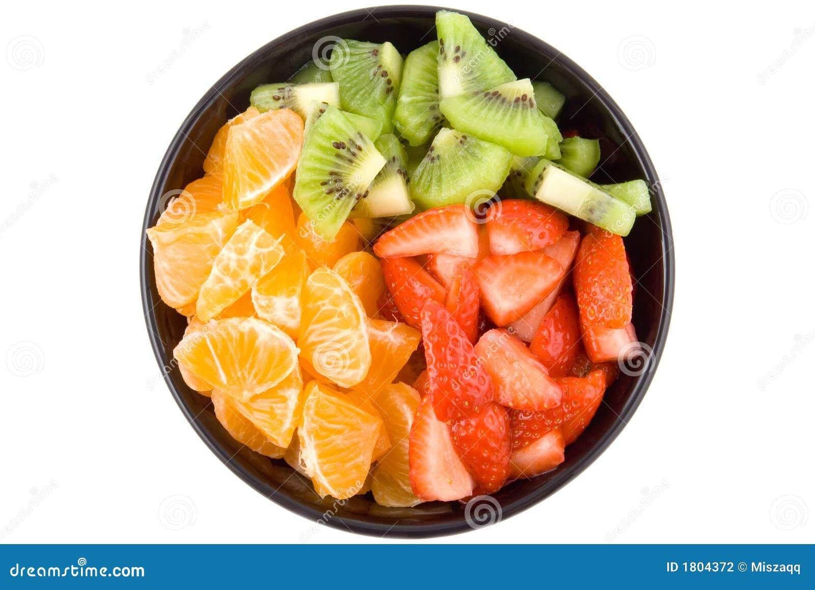 Drie kleurengezondheid, kiwi, mandarijn en aardbeien