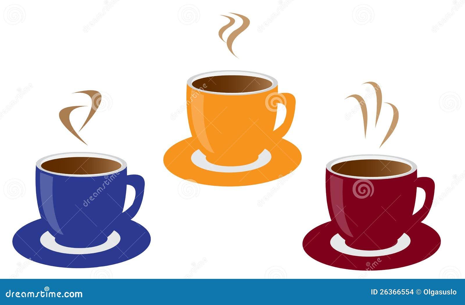 Drie koppen van koffie
