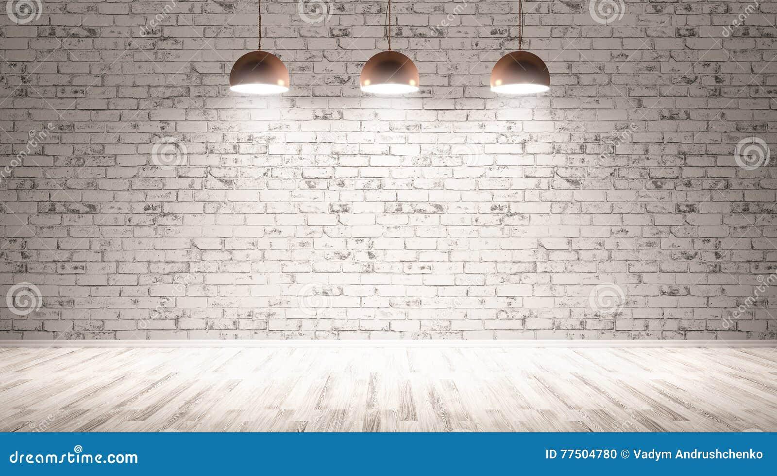 Drie lampen over bakstenen muur het 3d teruggeven