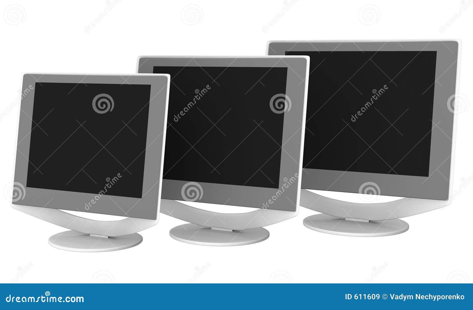 Drie LCD monitors