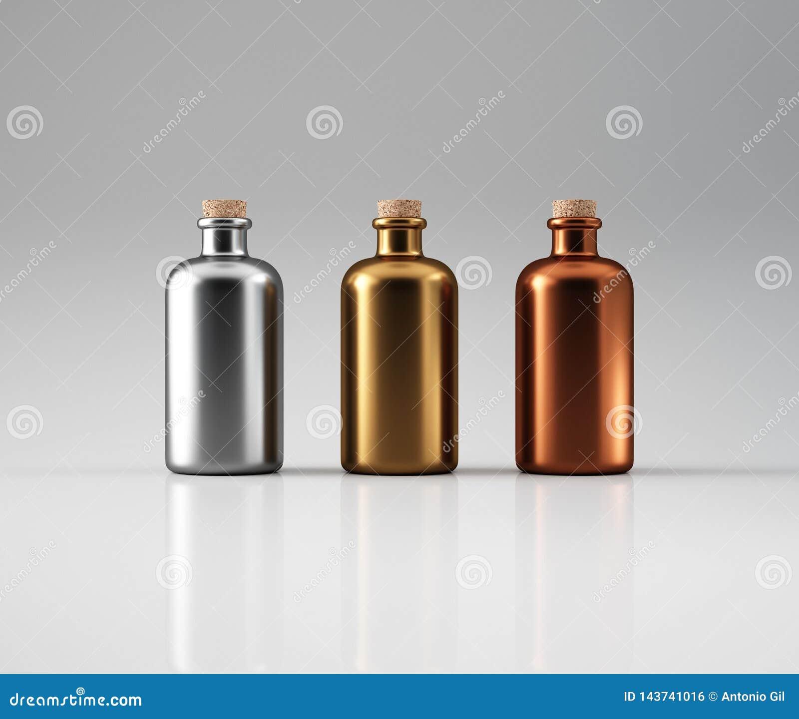 Drie metaalflessen
