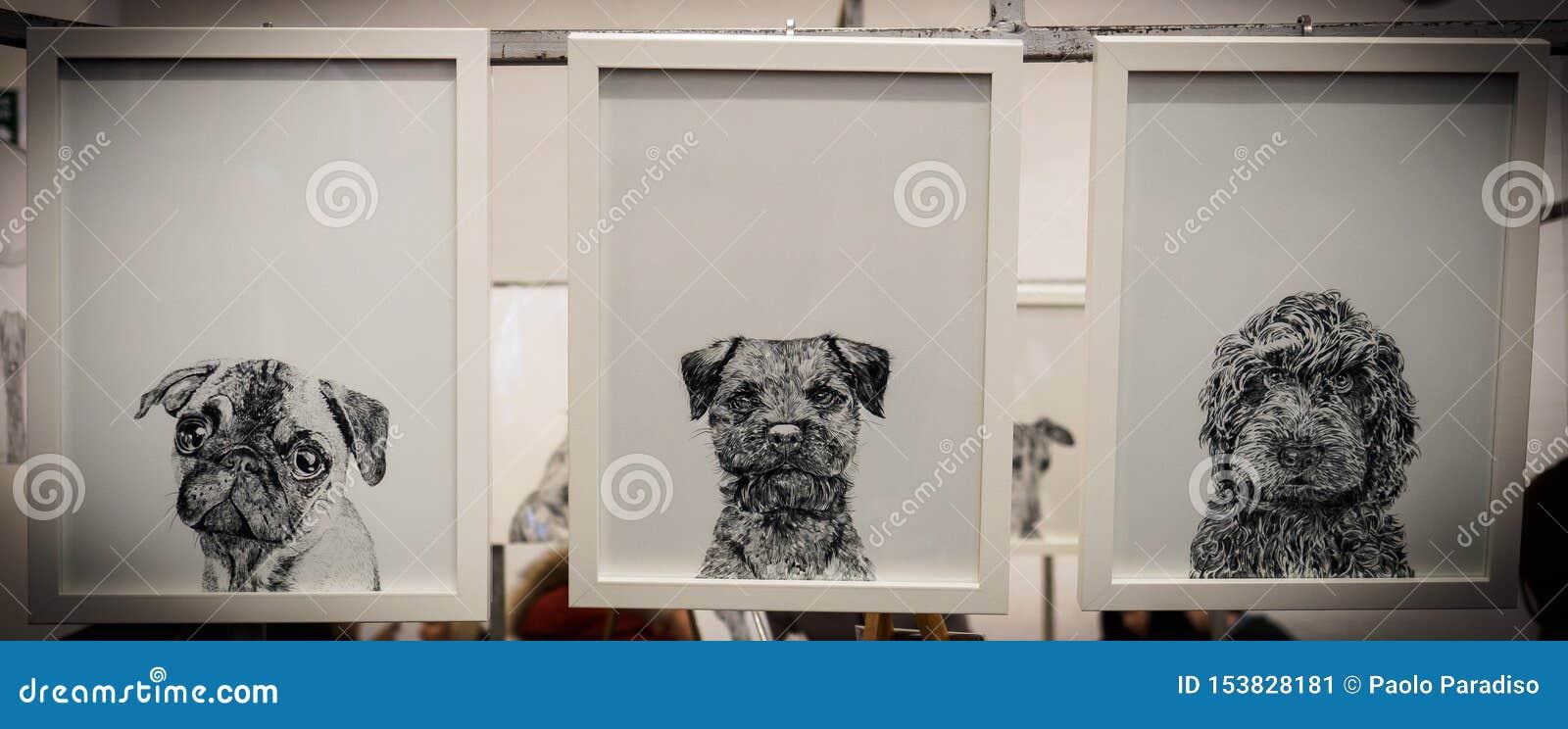 Drie ontworpen zwart-witte tekeningen van puppy