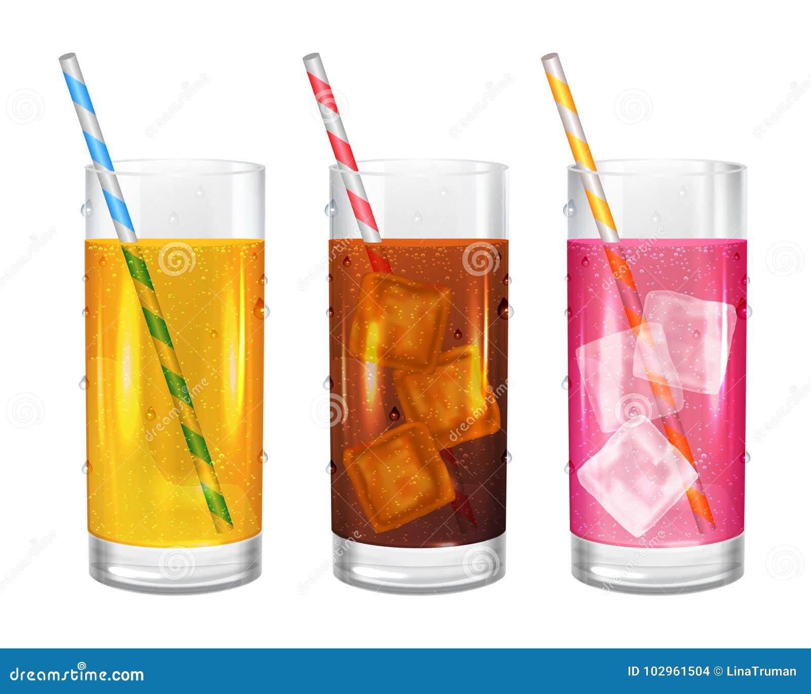 Drie realistische glazen limonades met stro