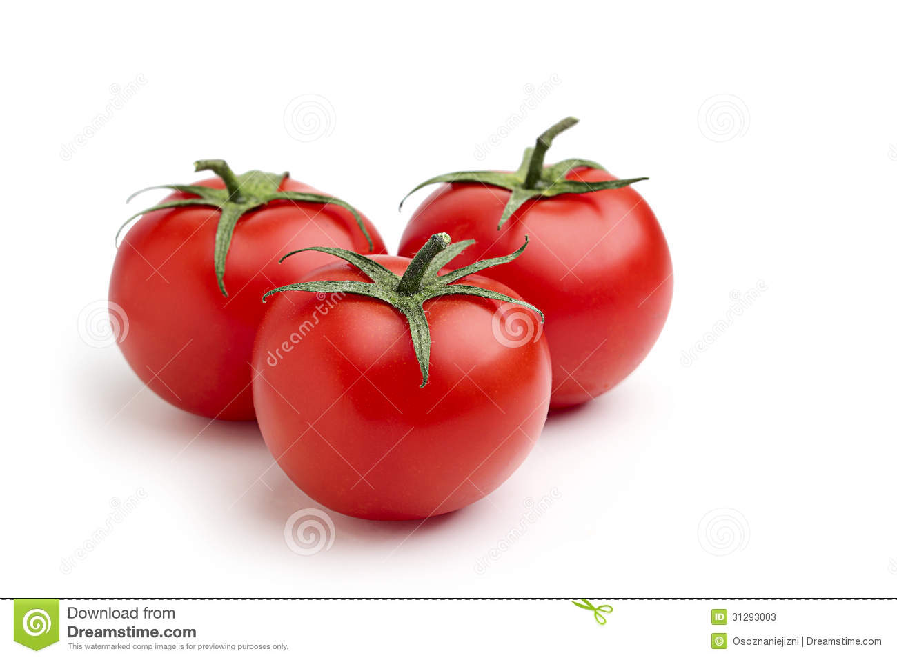 Drie rode tomaten.
