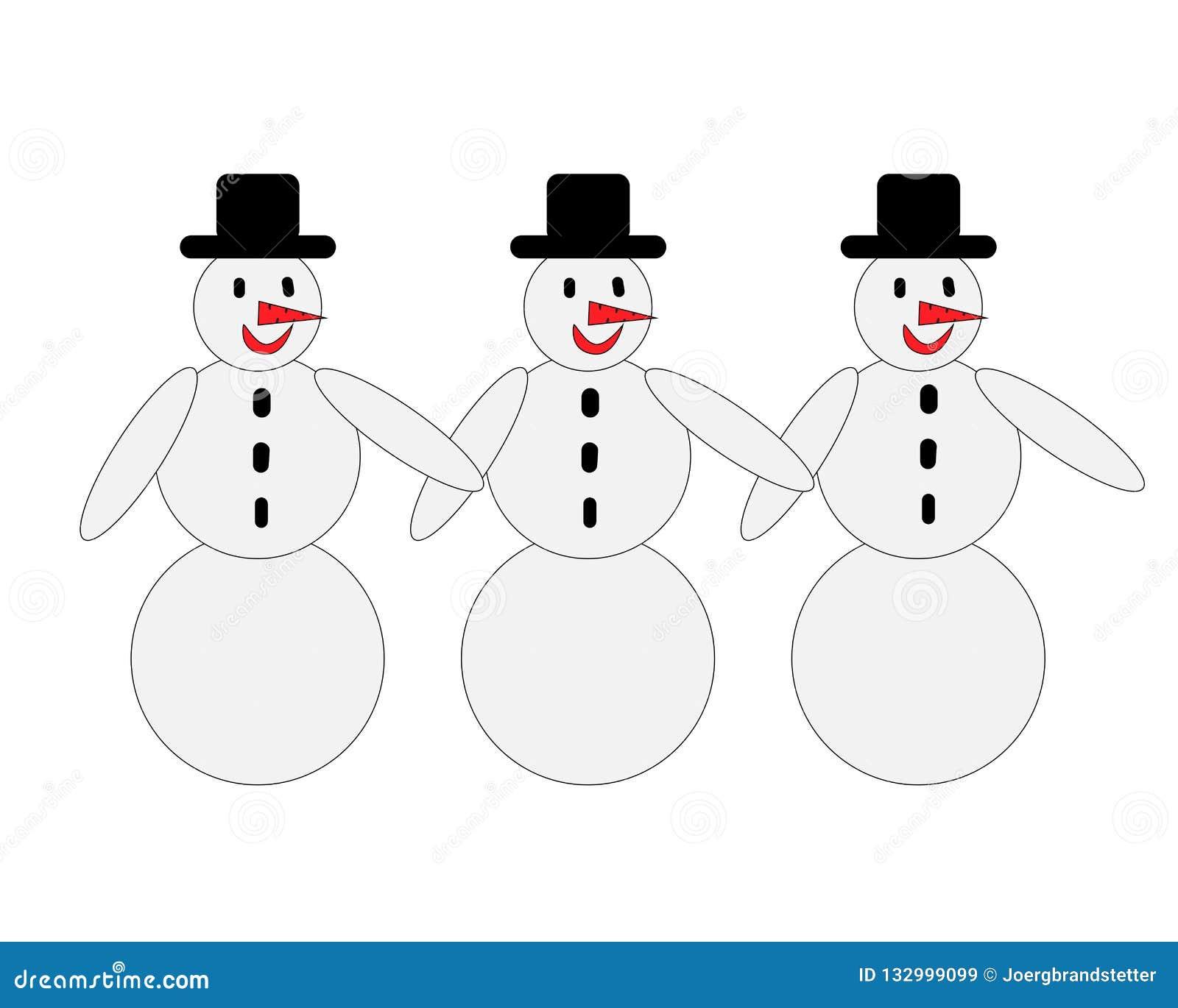 Drie sneeuwmannen met zwarte hoeden