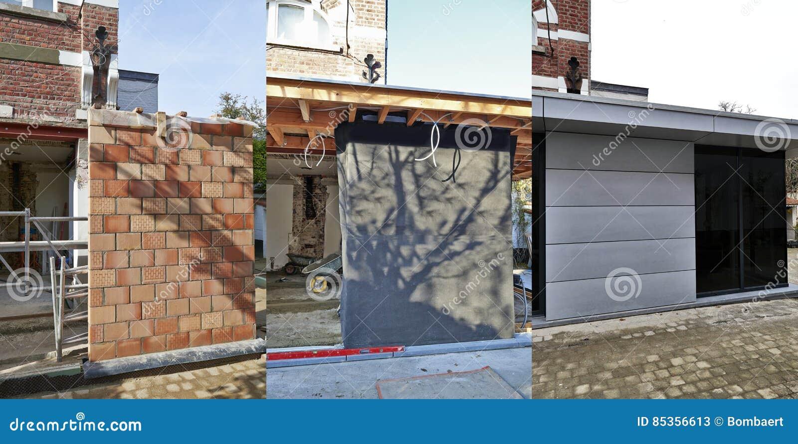 Uitbreiding Aan Huis : Drie stappen van bouw nieuwe moderne uitbreiding van een huis