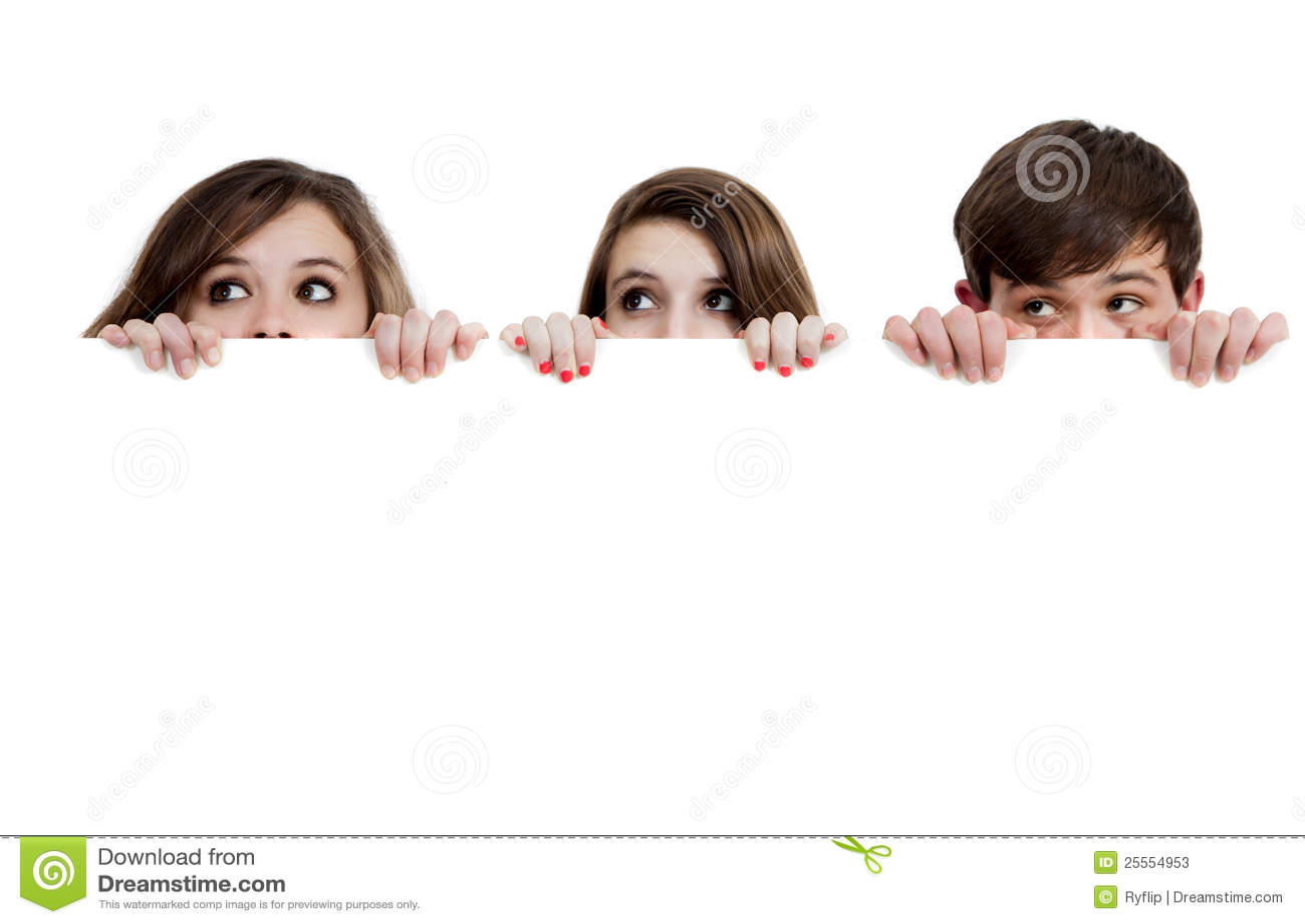Drie tieners die over een witte achtergrond gluren stock foto 39 s afbeelding 25554953 - Foto tiener ruimte meisje ...