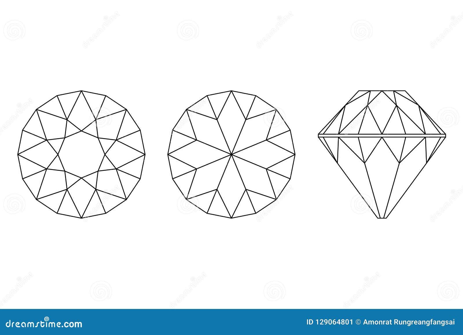Drie Verschillende meningen van grote diamantbesnoeiingen, kant, bovenkant en botto