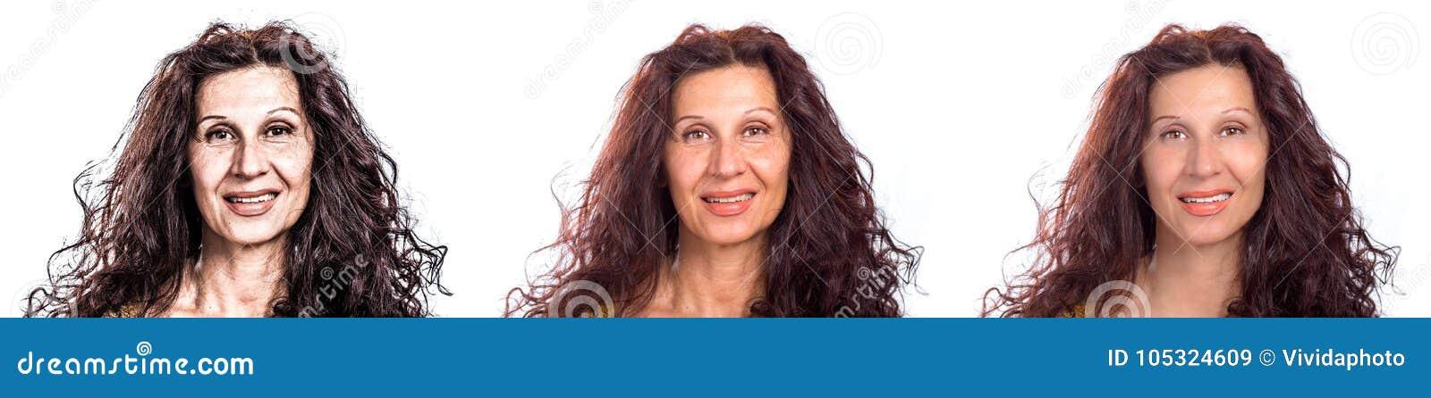 Drie versies rijpen vrouw het glimlachen
