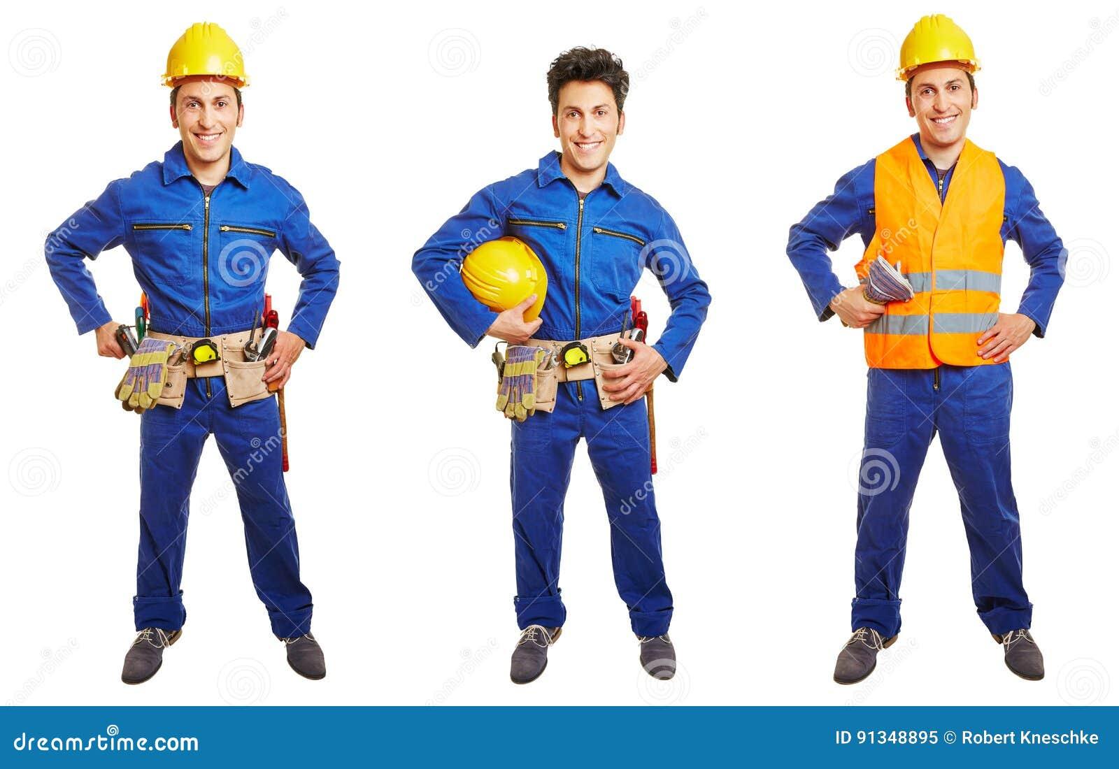 Drie versies van handarbeider