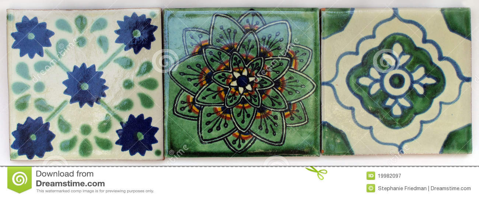 Drie vierkante mexicaanse tegels royalty vrije stock fotografie afbeelding 19982097 - Grafiek blauw grijze verf ...