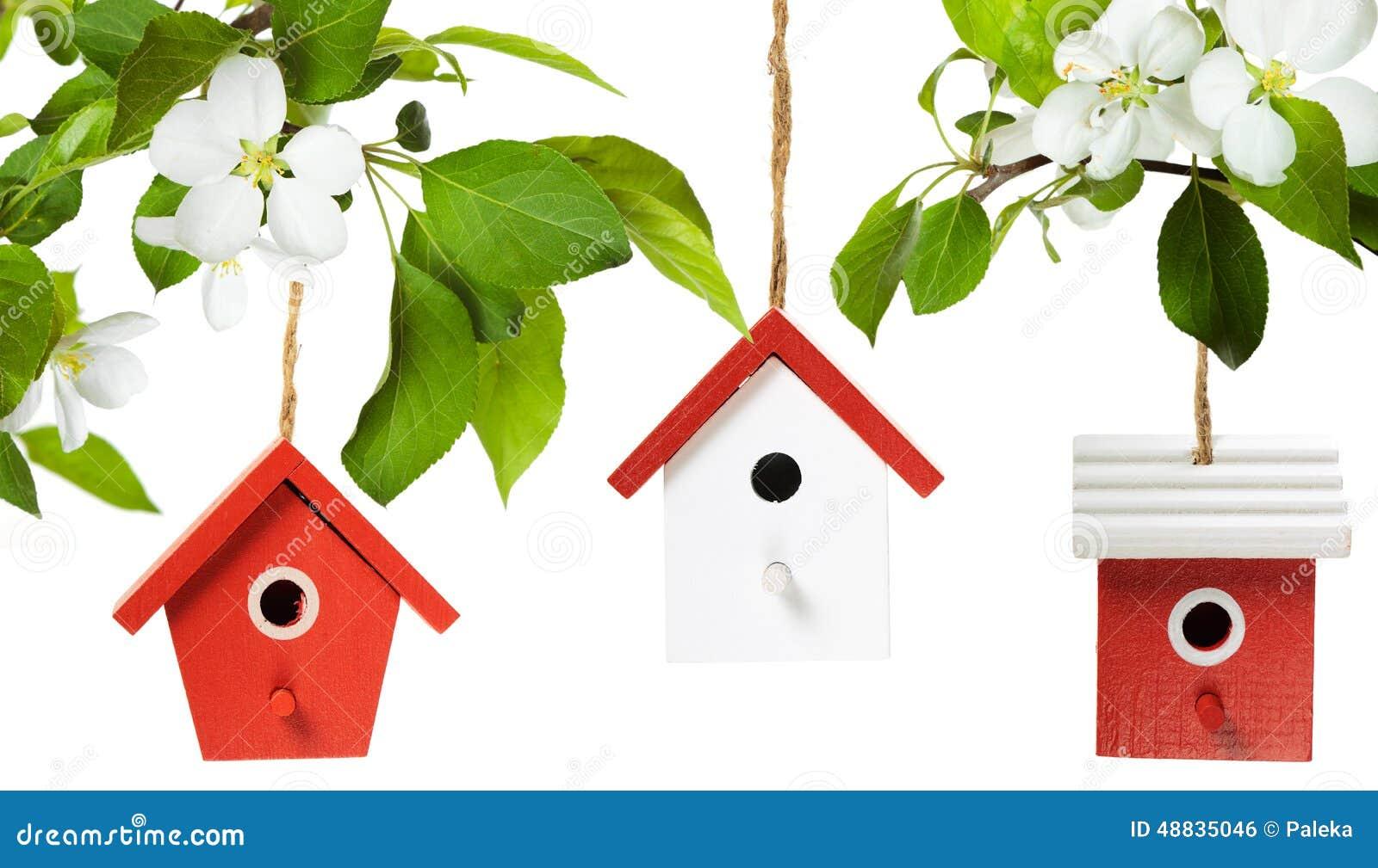 Drie vogelhuizen