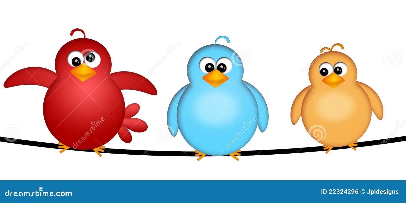 Drie Vogels op een Illustratie van de Draad