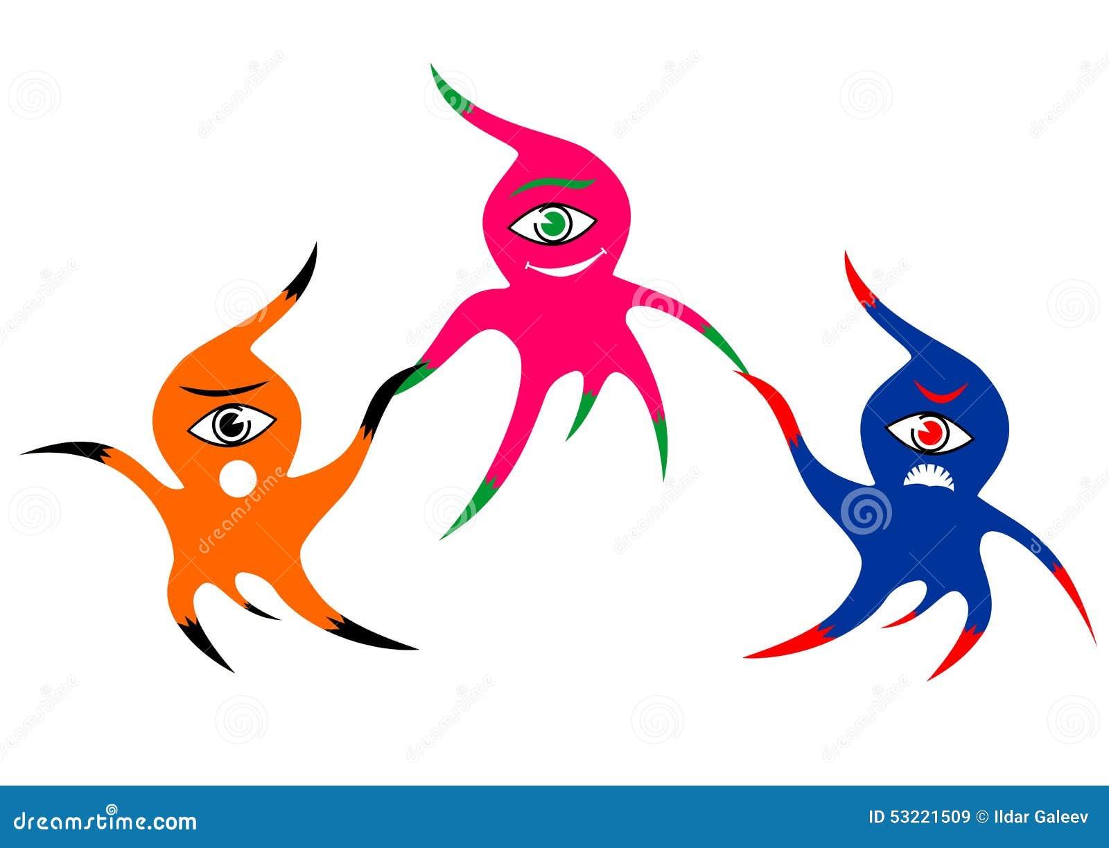 Drie vrolijke kleurrijke eenogige monsters