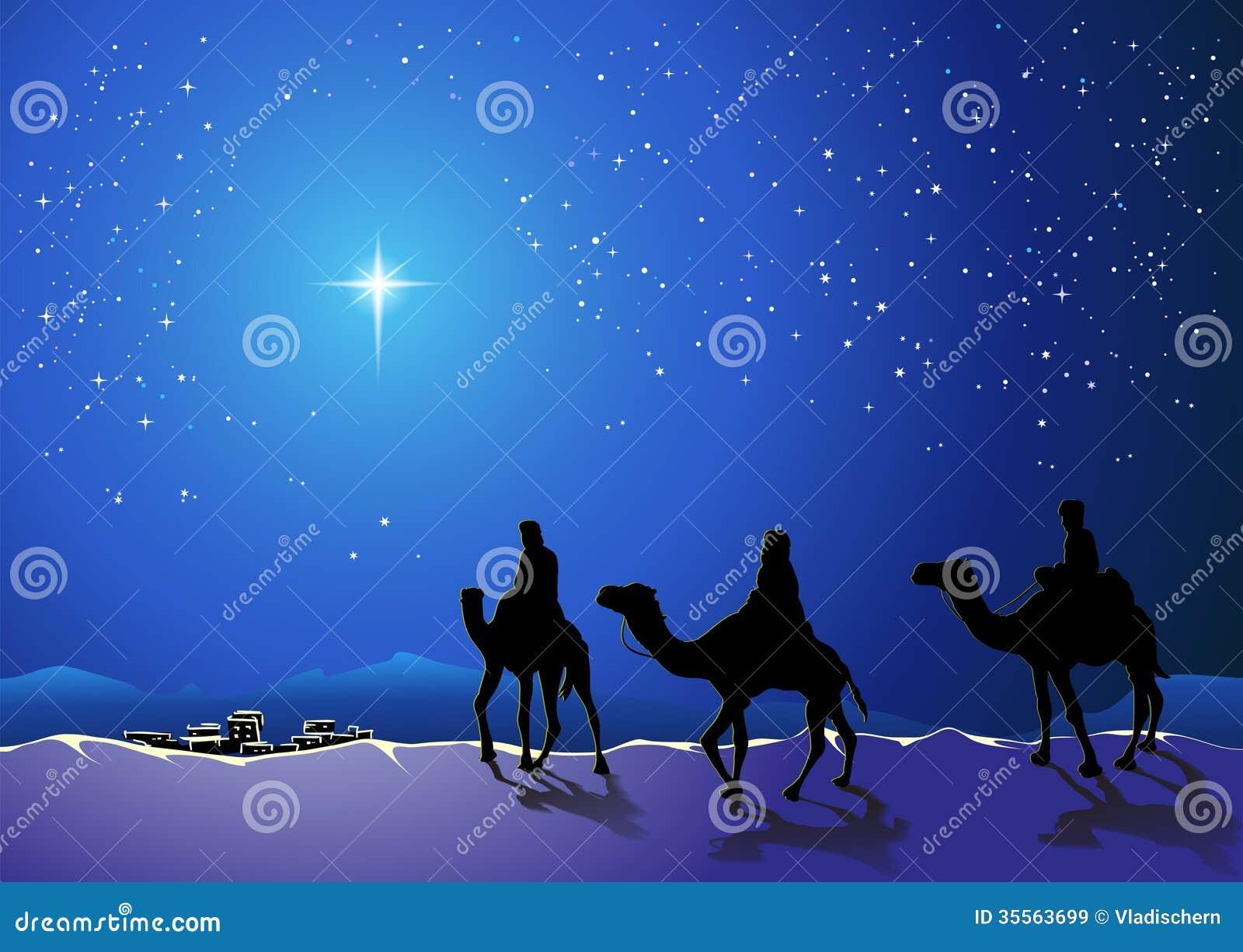 Drie wijzen gaan voor de ster van Bethlehem
