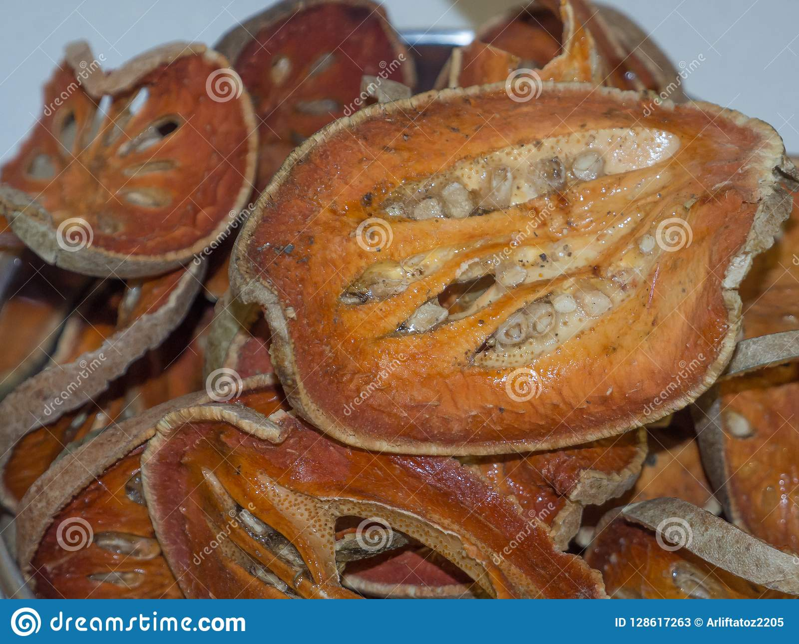 The Dried bael fruit Aegle marmelos in close up.
