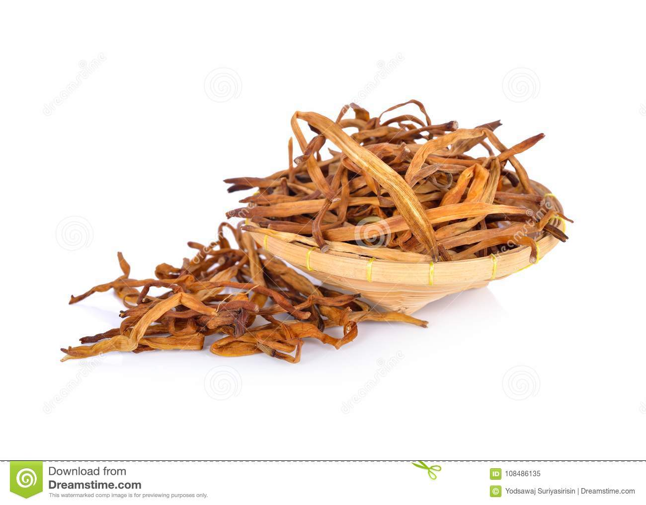 Dried day lily flower in bamboo basket and on white background stock download dried day lily flower in bamboo basket and on white background stock image image izmirmasajfo
