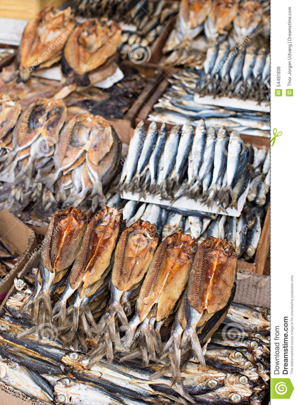 Dried Fish At A Market Stock Photo Image Of Retail Catch