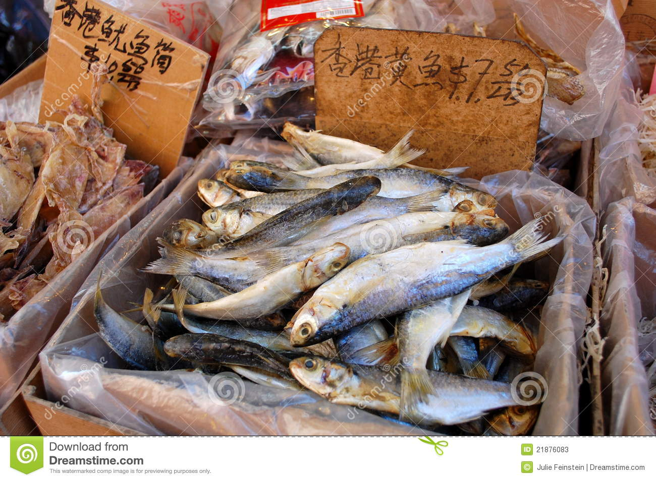 Dried fish for sale in the chinese market stock image for Chinatown fish market
