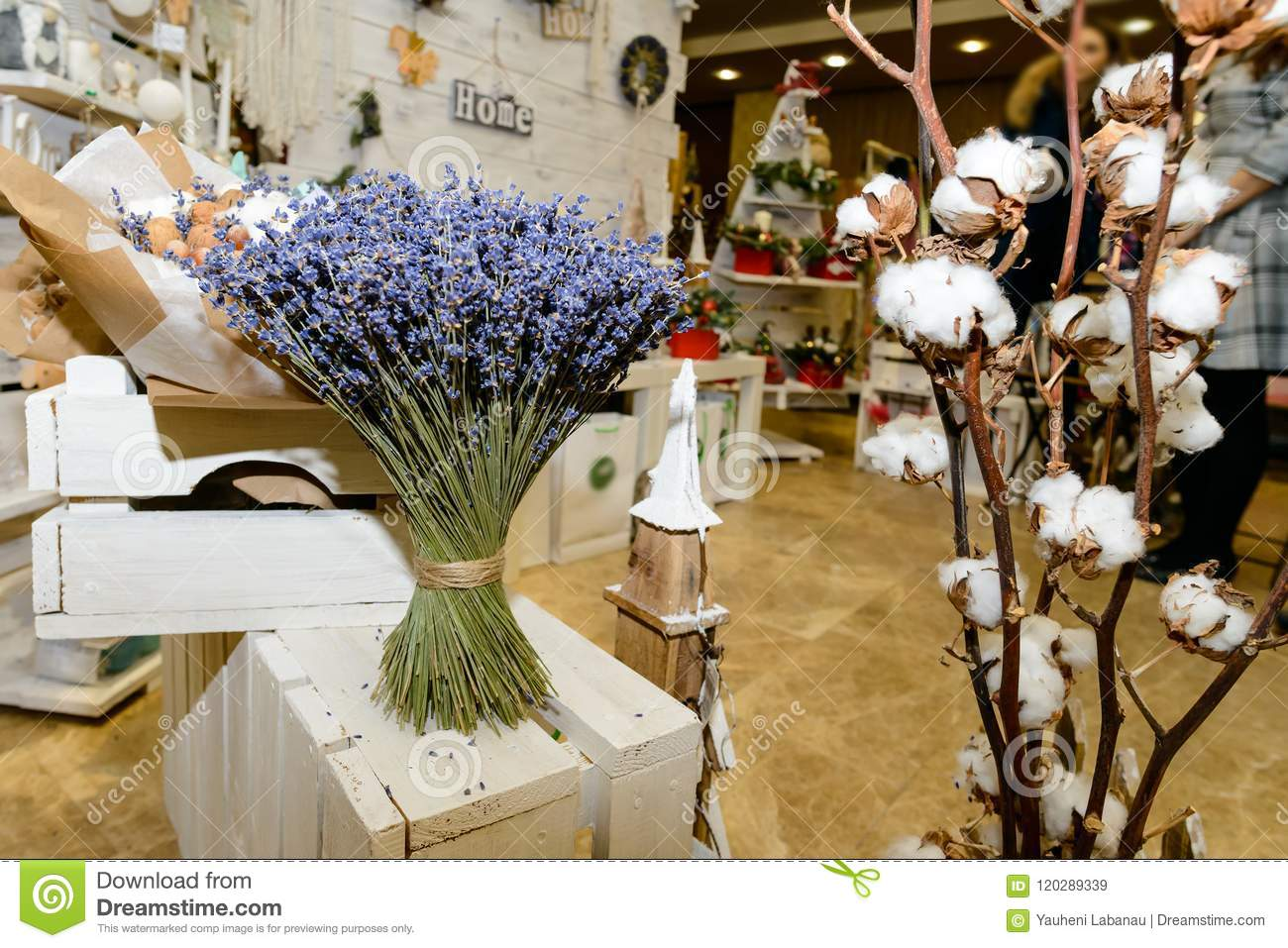 Dried Flower Bouquet At A Home Decor Shop