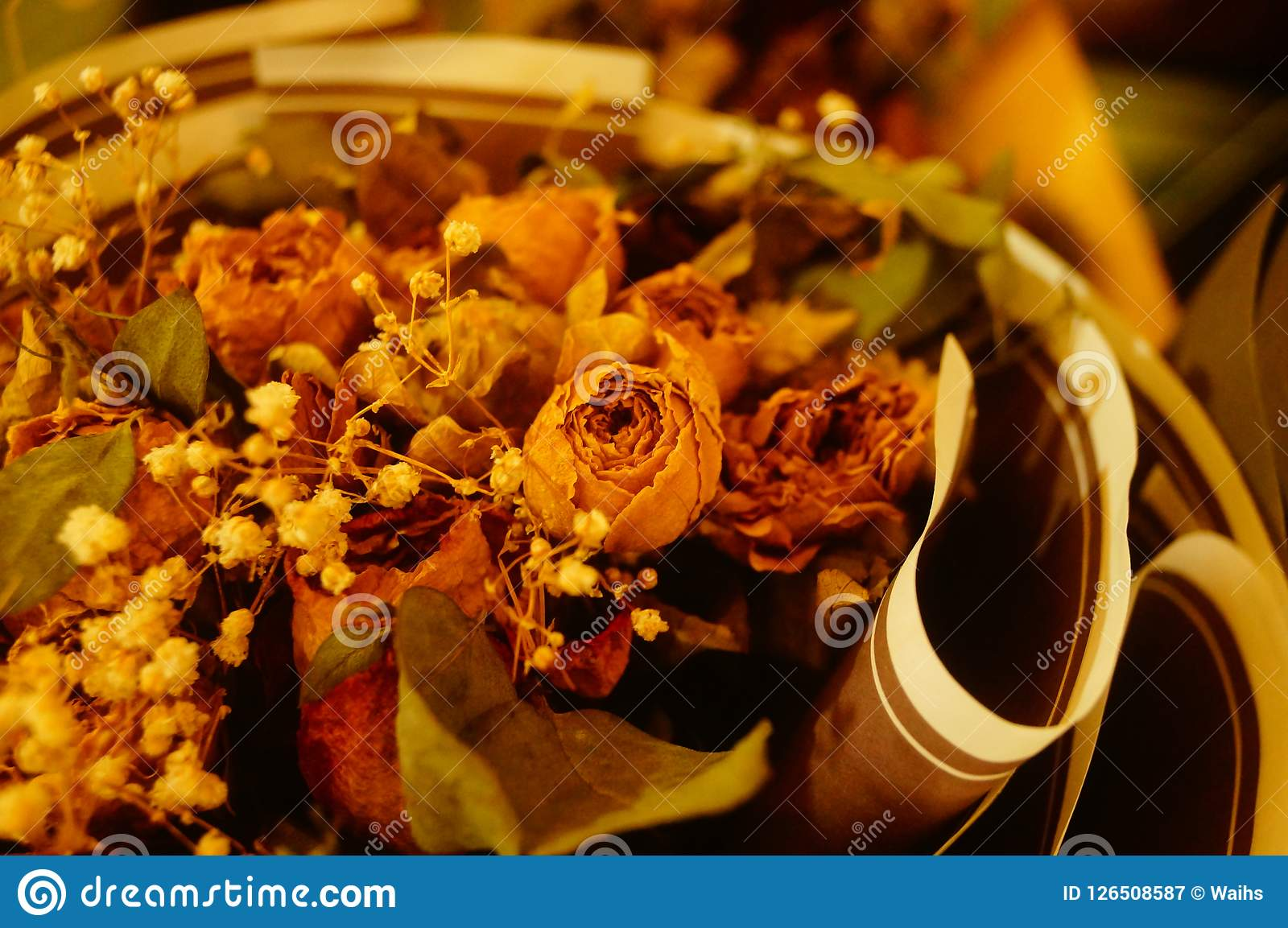 Dried Flower Landscapes Are Sold In Flower Shops Stock Image