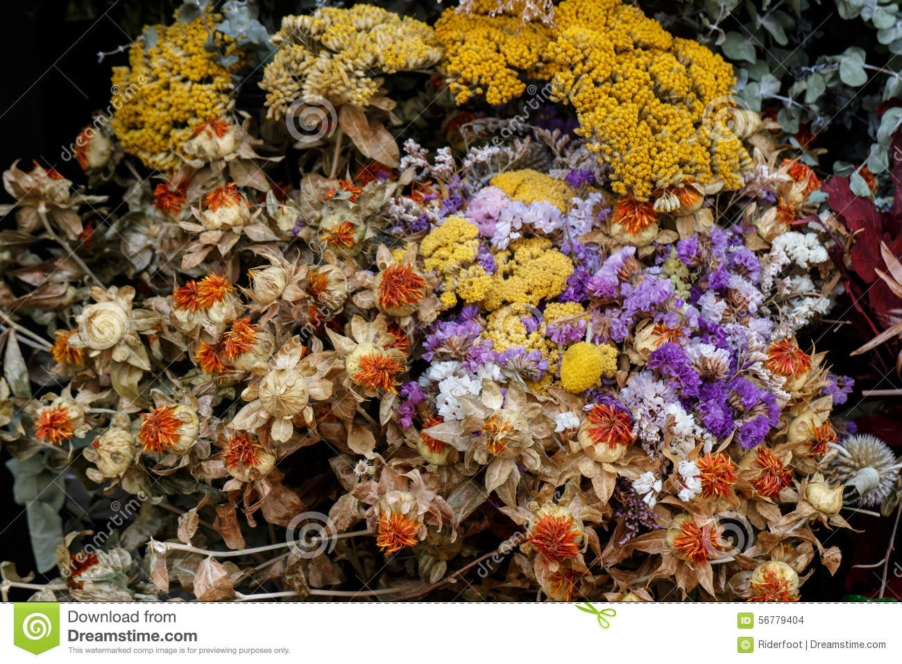 Dried Flowers Bouquet From A Shop Stock Photo Image Of Business Flowers 56779404