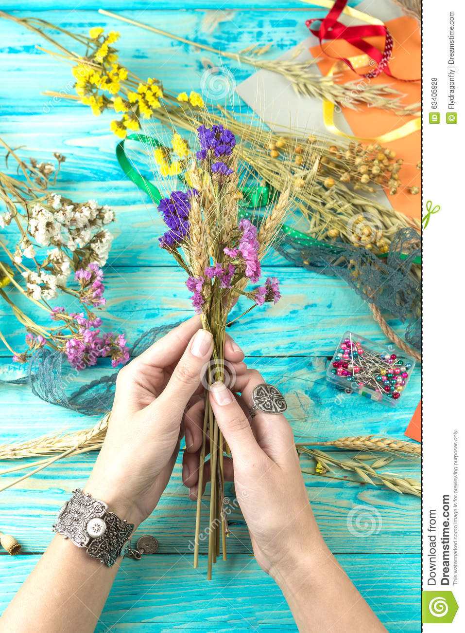 How to scrapbook dried flowers - Dried Flowers And Wheat Ears